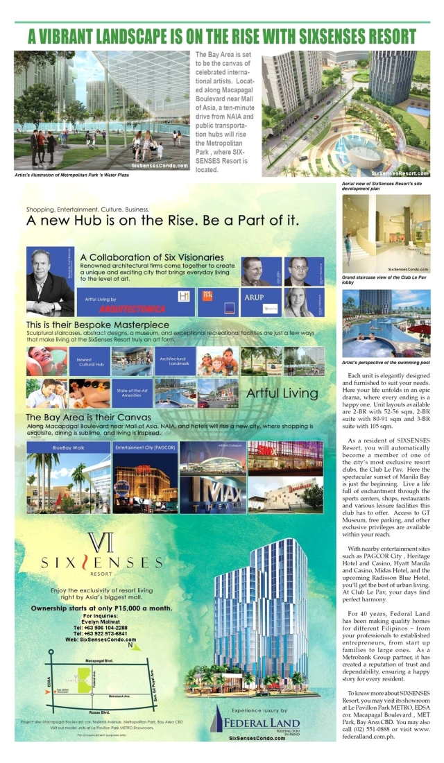 SixSenses Resort is a development of Federal Land Inc. near Mall of Asia and Pagcor City